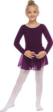 trudge Mädchen Ballettkleidung Ballettkleid Kinder Langarm Baumwolle Balletttrikot Ballettanzug Tanzkleid Tanzbody mit Rock T