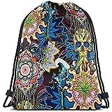 BOUIA Backpack Una donna e un teschio con foglie colorate Zaino con coulisse colorate Borsa da palestra casual resistente Borse da viaggio Borsa da viaggio portatile
