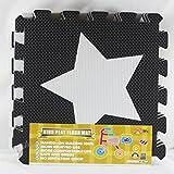 Meitoku Baby-Spiel-Puzzlespiel-Fu?boden-Matte,F¨¹nfzackigen Stern, 10pcs / bag, jedes St¨¹ck = 30x30cm starkes 1cm Schwarzes + Wei?