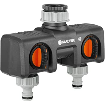Distributeur 2 voies GARDENA: possibilité de raccorder 2 appareils au robinet, convient pour les programmateurs et minuteries d'arrosage de GARDENA, débit d'eau réglable et verrouillable (8193-20)
