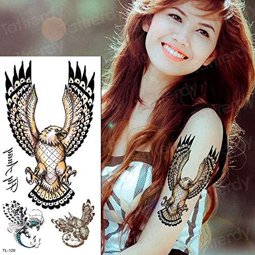 Tzxdbh tatuaggio falso aquila tatoo temporaneo impermeabile remover ali tatuaggi tatoo animali tatuaggio impermeabile indietro body art tatuaggi