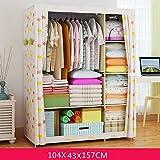 Armarios sencilla de tela doble armario armario reforzado polvo armario dormitorio plegable gabinete de almacenamiento ( Color : 1 )