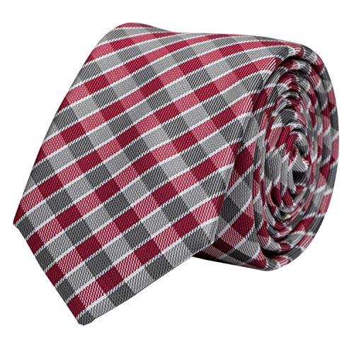 Edle Fabio Farini Krawatte, 6 cm in verschiedenen Farben, Rot-Grau kariert
