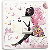 Pink Fairy Princess Butterfly & Flowers - Single Light Switch Sticker - Self adhesive vinyl cover skin by stik