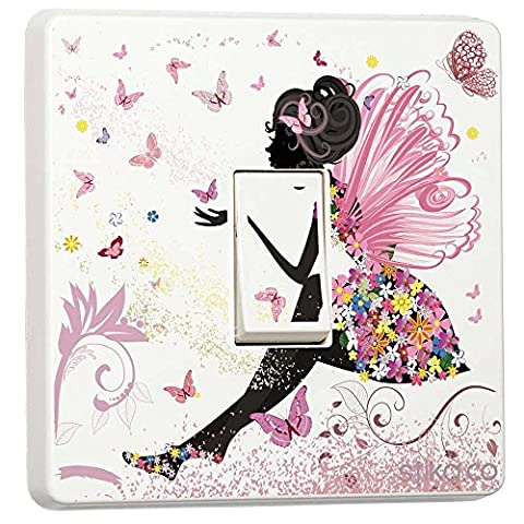 Pink Fairy Princess Butterfly & Flowers - Single Light Switch Sticker - Self-adhesive vinyl cover