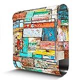 BANJADO Edelstahl Briefkasten mit Zeitungsfach, Design Motivbriefkasten, Briefkasten 38x43,5x12,5cm groß Motiv Bunte Holzschindeln