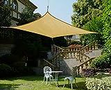 Cool Area 4x6m Rechteck Sonnensegel Sonnenschutz Segel, UV Schutz wetterbeständig HDPE atmungsaktiv für Balkon Terrasse Garten, Sandfarbe