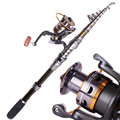 WCKJT 2.4M//2.7M//3.0M//3.6M Angeln Rute und Rolle Combos Angelrute Tragbare Carbon Teleskop-Spinnrute mit Reel Combon