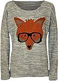 Produkt-Bild: WearAll - Neu Damen Fuchs Brille Gestrickt Jumper Langarm Elastisch Drucken Top - 4 Farben - Größe 36-42