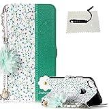 TOCASO Schutzhülle für Huawei P10 Lite Flip Case Brieftasche Lederhülle Ultra Slim Handyhülle mit Stand Ständer Karte Halter Magnet Klapphülle Rückseite -Blumen