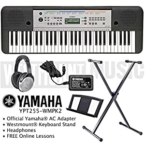 yamaha ypt 255 keyboard including official adapter. Black Bedroom Furniture Sets. Home Design Ideas