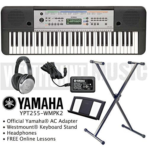 yamaha-ypt-255-keyboard-including-official-adapter-westmountr-keyboard-stand-headphones-and-free-onl