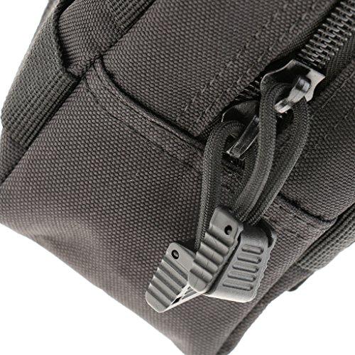 Taktische / Militärische Hüfttasche, stark und praktisch, geeignet für Jogging, Fitness, Radfahren, Bergsteigen, Wandern usw. Outdoor Aktivitäten, Sporttasche Schwarz