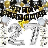 """KUNGYO Clásico Fiesta de Cumpleaños Kit Decoraciones-""""Happy Birthday"""" Bandera Negro; Número 30 Globo;Balloon de Látex&Estrella, Colgando Remolinos-Perfectas del Partido Para el Cumpleaños de KUNGYO"""