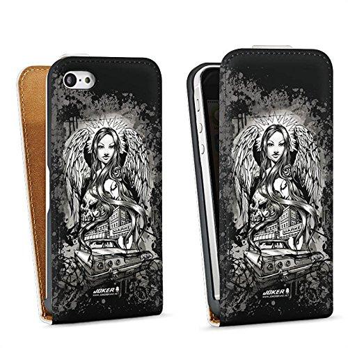 Apple iPhone 5 Housse Étui Silicone Coque Protection Joker - Lost Angel Ange Tête de mort Sac Downflip blanc