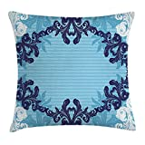 case YLIOWRC Floral Throw Pillow Cushion Cover, Abstract Art Vector Ornament of Flowers and Leaves Illustration, Decorative Square Accent Pillow Case, 18 X 18 inches, White Dark Blue and Sky Blue