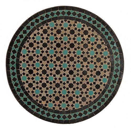 Mediterraner Gartentisch M60-42 marokkanischer Mosaiktisch Ø 60 cm rund türkise Sterne mit Gestell Höhe 73 cm | Kunsthandwerk aus Marrakesch | Handmade Bistrotisch Mosaik-Kunst Balkontisch | MT2124