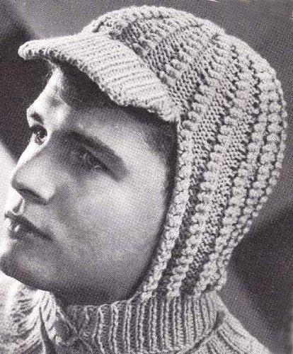 Knitted Visor Helmet Hood for Men and Women Vintage Knitting Hat Cap Pattern (English Edition) - Womens Visor Knit Hat