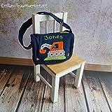 Blaue Kindergartentasche Bagger orange