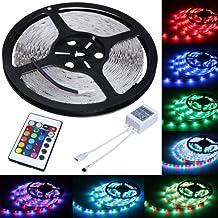 Jago LED Strip Licht Streifen 5m Band Leiste mit 300 LEDs (SMD 3528) inkl. Netzteil & Fernbedienung