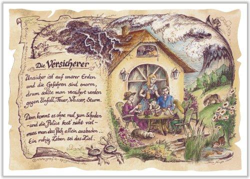 Preisvergleich Produktbild Geschenk Versicherer Versicherung Versichern Gedicht Zeichnung Color 20 x 15 cm