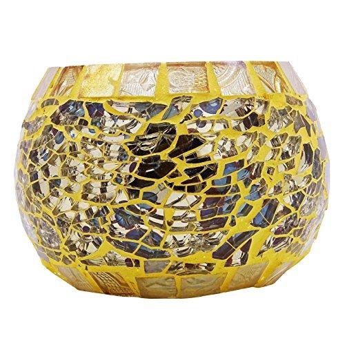 Indianbeautifulart Artesanal Mosaico de Vela de Cristal sostenedor del Soporte Tealight Votiva Holder Decoración del hogar