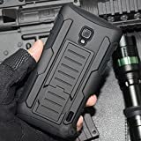 LG Optimus F6 Coque, Cocomii Robot Armor NEW [Heavy Duty] Premium Belt Clip Holster Kickstand Shockproof Hard Bumper Shell [Military Defender] Full Body Dual Layer Rugged Cover Case Étui Housse D500 D505 MS500 (Black)