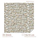 Graz Design 768080_15x10_70 Fliesenaufkleber Stein - Mauer - Optik | mit Fliesenbildern die Fliesen-Wände überkleben (Fliesenmaß: 15x10cm (BxH)//Bild: 70x70cm (BxH))