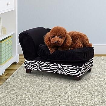 Méridienne canapé design pour chien chat avec coffre de rangement sur pied 57 x 34 x 36 cm noir zébré 45