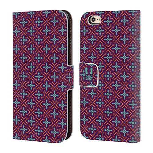 Head Case Designs Ciano Pattern Marocchini Cover a portafoglio in pelle per Apple iPhone 5 / 5s / SE Porpora