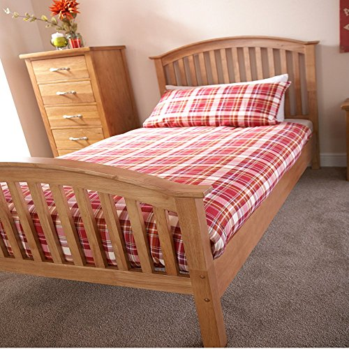 Mina High Foot Wooden Bedframe (3ft Single, Oak)
