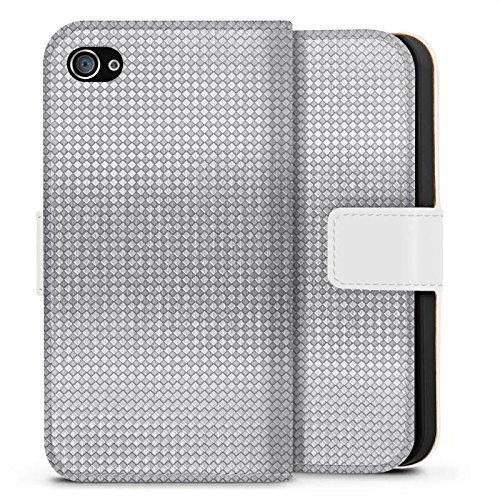 Apple iPhone X Silikon Hülle Case Schutzhülle Silber Muster Vierecke Sideflip Tasche weiß