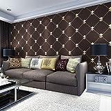 yanzi Wohnzimmer TV Hintergrund Tapeten 3D Dreidimensionale Weiche Paket Hirschleder Europäischen Luxus Luxus Lingge Tapete Full House,Brown