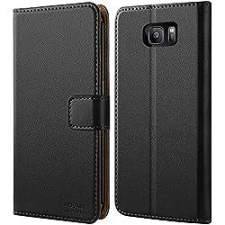 HOOMIL Coque Samsung S7 Edge, Housse en Cuir Premium Flip Case Portefeuille Etui Coque pour Samsung Galaxy S7 Edge (H3026, Noir)
