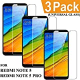 Xiaomi Redmi Note 5 Tempered Glass (PACK OF 3), Screen Protector [MI NOTE 5 - 0.3mm] Redmi Note 5 Pro Tempered Glass Full HD Heavy Duty Hybrid Hard GLASS 2018