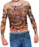 infactory Langarm-Tattoo-Shirt: Tattoo-Shirt Tribal & Dragon, bunt (Tattoo-Shirt als Kostüm für Party)