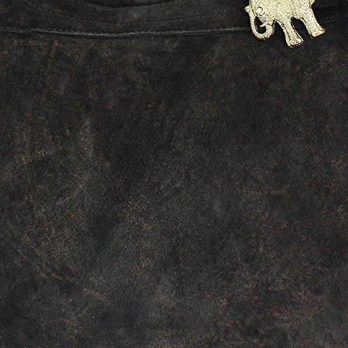 ANOKHI Beuteltasche Cheyenne, (BxHxT) 44x34x15 cm, Leder Schwarz