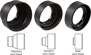 Sonia 3 in 1 Rubber Lens Hood 52mm for Canon Nikon Sony Olympus Pentax & All Other Digital SLR Cameras