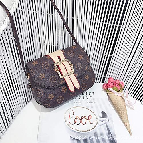 Ldyia Tasche weibliche Tasche Druck Klassische Mode Alten Blumenquadrat Tasche Mini eine Schulter alte Blume geschlungene weibliche Tasche, beige -