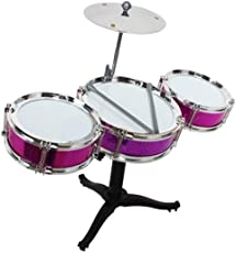 Mini Jazz Drum Percussion Instruments Set Kit Musical Toys with High Straight PVC Material Drumhead (4 Pcs) for Kids, Random Color