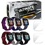 Remson Ultimate Pack of 8, Silicone Strap Band with Screen Protector Compatible With Fitbit Versa 3 and Fitbit Sense, Replace