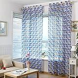 Cinco hojas de las flores Decorar Hilados para cortinas, cortinas pantallas - Azul