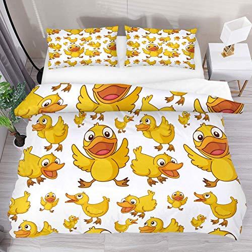 Soefipok Bettwäsche Bettbezug-Set Niedliche lustige gelbe Ente gedruckt Tröster-Set mit 2 Kissenbezügen 3 Stück weich, 1 Bettbezug mit 2 Kissenbezügen -