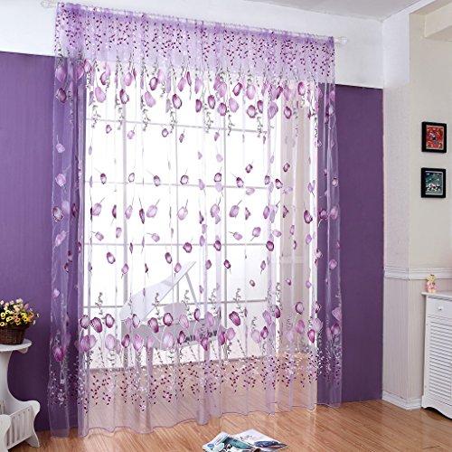 Fenster Behandlungen Ideen (HJL Fenster-Vorhänge Tür-Vorhang-Fenster-Tulpe-Schirme für Raum und bequemes Vorhang-Schlafzimmer 100*270cm)