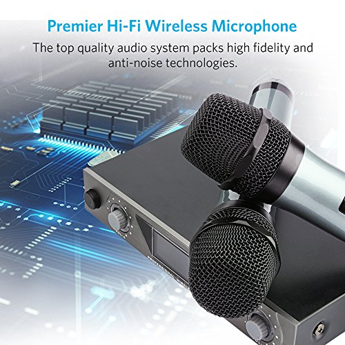 Wireless Mikrofon, UHF Funkmikrofon set Mikrofon System Karaoke Mikrofon Professional Dual 2 Handmikrofon Set Drahtloses Mikrofonsystem mit LCD Display für Outdoor Hochzeit, Konferenz, Karaoke usw. - 2