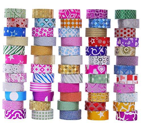 60 Rollen Glitter Washi Klebeband Set, Washi Masking Dekorative Bänder für DIY Dekor Planer Scrapbooking Klebstoff Schule / Party Supplies -