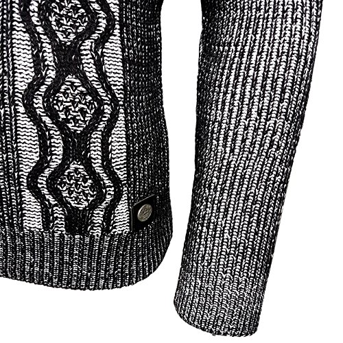 Rusty Neal Herren Grobstrick Strickpullover Zipper Pullover Sweatshirt RN-13285 Schwarz