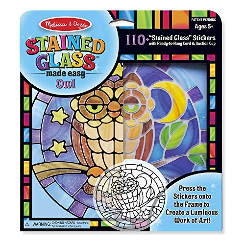 Melissa & Doug Stained Glass Made Easy Activity Kit, Owl (Arts and Crafts, Develops Problem Solving Skills, 110+ Stickers)