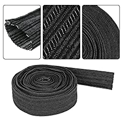 Acogedor 25 Feet Nylon Protective Sleeve, Sheath Cable Cover, Tig Plasma Torch Hydraulic Hose Cable Sleeves,Width 4cm x Diameter 27mm