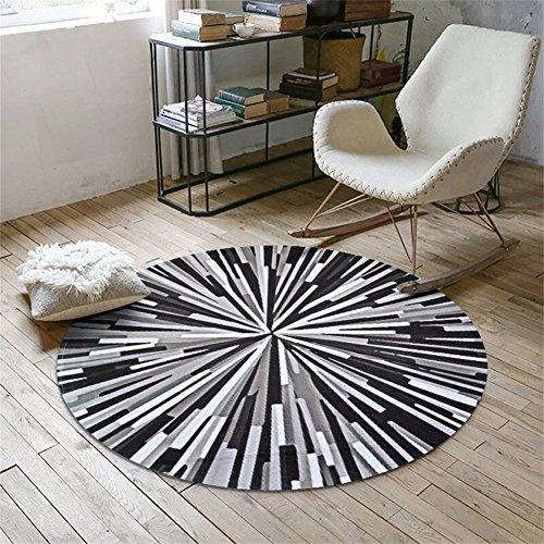 Geometrische Muster Runde Teppich Runde Bereich Teppich Home Kreative Matte Für Schlafzimmer Couchtisch Wohnzimmer Nachttisch Computer Stuhl (Farbe : Schwarz, größe : 150cm) - Schwarz Moderner Couchtisch